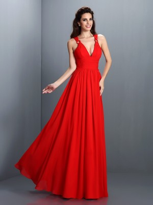 A-Line/Princess Sleeveless Pleats Floor-Length V-neck Chiffon Dresses