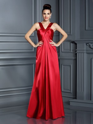 A-Line/Princess Sleeveless Floor-Length Straps Elastic Woven Satin Bridesmaid Dresses
