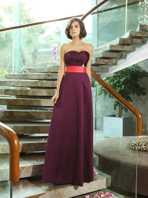 A-Line/Princess Sleeveless Floor-Length Sweetheart Satin Bridesmaid Dresses