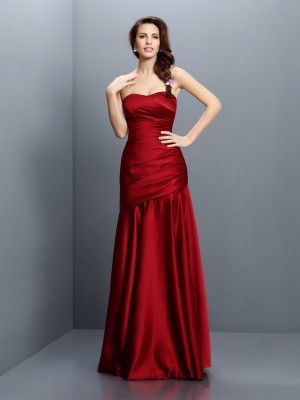 A-Line/Princess Sleeveless Ruched Floor-Length Strapless Satin Bridesmaid Dresses