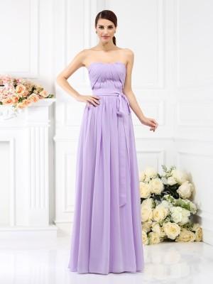A-Line/Princess Sleeveless Sash/Ribbon/Belt Floor-Length Strapless Chiffon Bridesmaid Dresses