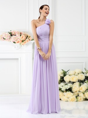 A-Line/Princess Sleeveless Pleats Hand-Made Flower Floor-Length One-Shoulder Chiffon Bridesmaid Dresses