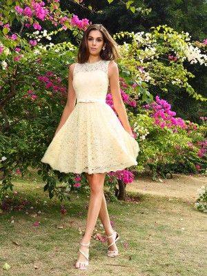 A-Line/Princess Sleeveless Lace Knee-Length Scoop Elastic Woven Satin Bridesmaid Dresses