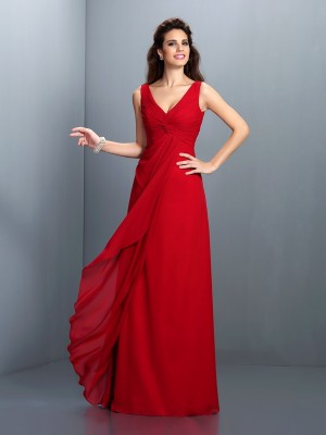 A-Line/Princess Sleeveless Pleats Floor-Length Straps Chiffon Dresses