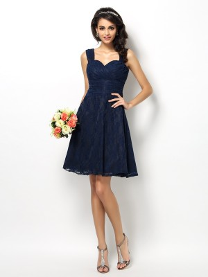 A-Line/Princess Sleeveless Lace Short/Mini Straps Satin Bridesmaid Dresses