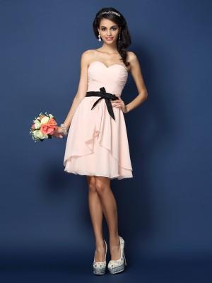 A-Line/Princess Sleeveless Sash/Ribbon/Belt Short/Mini Sweetheart Chiffon Bridesmaid Dresses