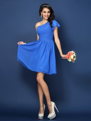 A-Line/Princess Sleeveless Pleats Short/Mini One-Shoulder Chiffon Bridesmaid Dresses