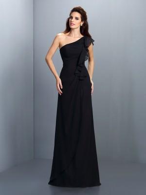 Sheath/Column Sleeveless Pleats Floor-Length One-Shoulder Chiffon Bridesmaid Dresses