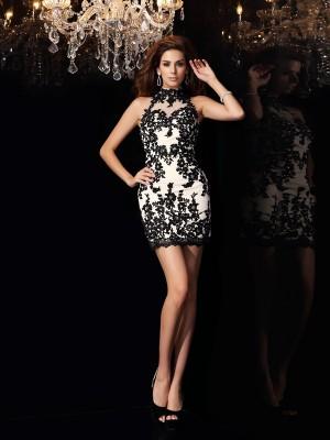 Sheath/Column Sleeveless Beading Applique Short/Mini High Neck Chiffon Cocktail Dresses