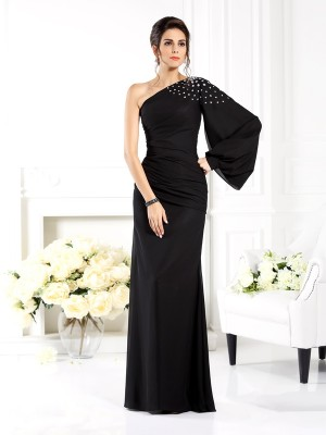 Sheath/Column Long Sleeves Beading Floor-Length One-Shoulder Chiffon Dresses