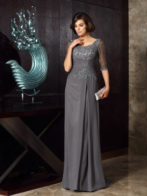 A-Line/Princess 1/2 Sleeves Beading Applique Sweep/Brush Train Scoop Chiffon Mother of the Bride Dresses
