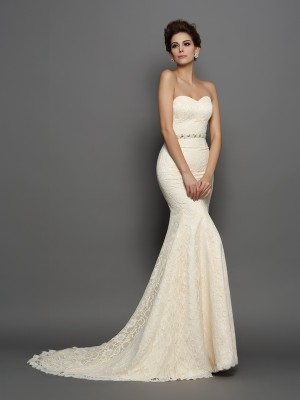 Trumpet/Mermaid Sleeveless Chapel Train Bowknot Satin Sweetheart Wedding Dresses