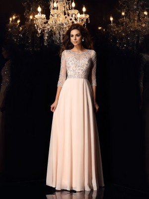A-Line/Princess 3/4 Sleeves Floor-Length Beading Chiffon Scoop Dresses