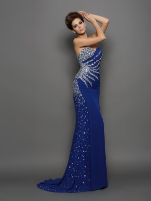Trumpet/Mermaid Sleeveless Court Train Rhinestone Chiffon Sweetheart Dresses