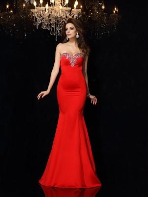Sheath/Column Sleeveless Court Train Beading Satin Sweetheart Dresses
