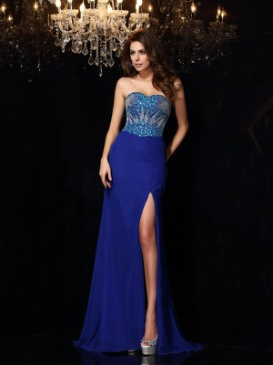 Sheath/Column Sleeveless Sweep/Brush Train Beading Chiffon Sweetheart Dresses