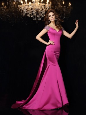 Trumpet/Mermaid Sleeveless Court Train Beading Satin Off-the-Shoulder Dresses