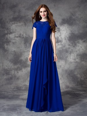 A-line/Princess Lace Floor-length Bateau Sleeveless Chiffon Bridesmaid Dresses