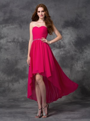 A-line/Princess Beading Asymmetrical Sweetheart Sleeveless Chiffon Bridesmaid Dresses