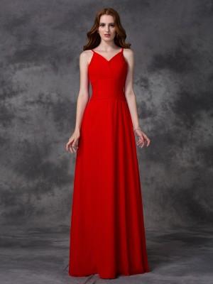 A-line/Princess Ruffles Floor-length Spaghetti Straps Sleeveless Chiffon Bridesmaid Dresses