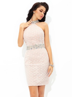 Sheath/Column Beading Short/Mini Halter Sleeveless Satin Cocktail Dresses