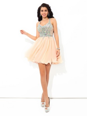 A-Line/Princess Rhinestone Short/Mini Straps Sleeveless Chiffon Cocktail Dresses