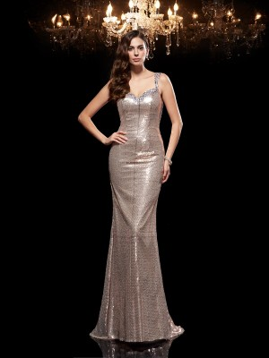 Sheath/Column Beading Sweep/Brush Train Straps Sleeveless Sequins Dresses