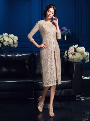 Sheath/Column Lace Knee-Length Scoop Sleeveless Taffeta Mother of the Bride Dresses