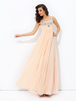 A-line/Princess Beading Floor-Length Spaghetti Straps Sleeveless Chiffon Dresses