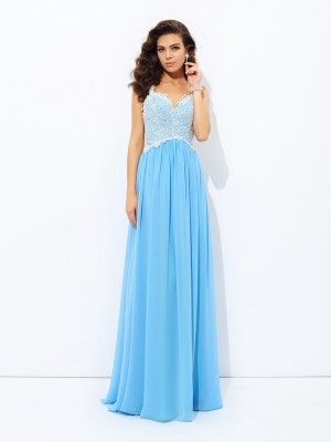 A-Line/Princess Lace Floor-length V-neck Sleeveless Chiffon Dresses