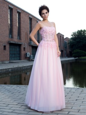 A-Line/Princess Applique Floor-Length Straps Sleeveless Net Dresses