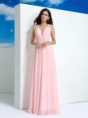 A-Line/Princess Beading Floor-Length Straps Sleeveless Chiffon Dresses