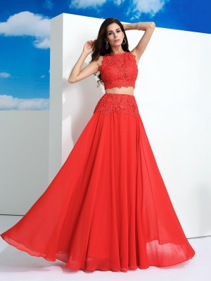 A-Line/Princess Lace Floor-Length Scoop Sleeveless Chiffon Dresses