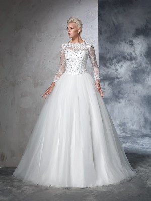 Ball Gown Lace Sweep/Brush Train Bateau Long Sleeves Net Wedding Dresses