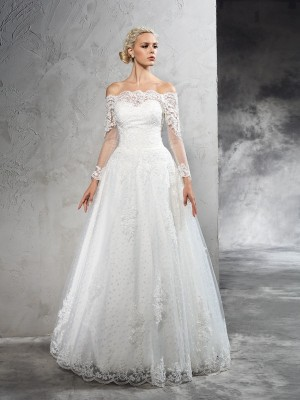 Ball Gown Lace Floor-Length Off-the-Shoulder Long Sleeves Net Wedding Dresses
