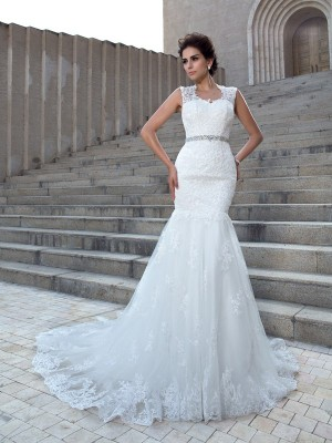 Trumpet/Mermaid Applique Chapel Train V-neck Sleeveless Lace Wedding Dresses