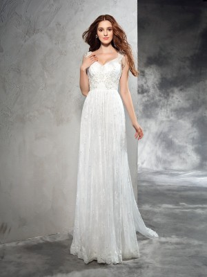 A-Line/Princess Lace Court Train Straps Sleeveless Lace Wedding Dresses