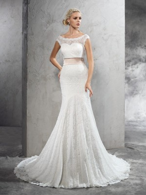 Sheath/Column Sash/Ribbon/Belt Court Train Sheer Neck Sleeveless Lace Wedding Dresses