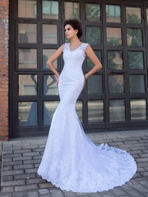 Trumpet/Mermaid Applique Chapel Train V-neck Sleeveless Satin Wedding Dresses