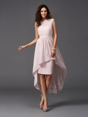 A-Line/Princess Sash/Ribbon/Belt Asymmetrical Scoop Sleeveless Chiffon Bridesmaid Dresses
