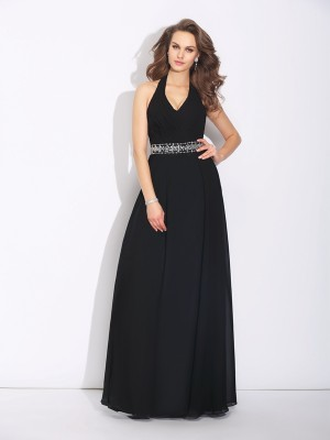 A-Line/Princess Beading Floor-Length Halter Sleeveless Chiffon Bridesmaid Dresses