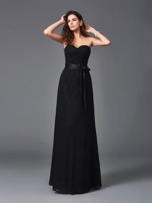 A-Line/Princess Sash/Ribbon/Belt Floor-Length Sweetheart Sleeveless Lace Bridesmaid dresses