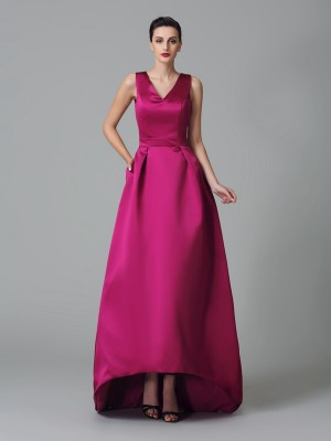 A-Line/Princess Ruched Asymmetrical Straps Sleeveless Satin Bridesmaid Dresses