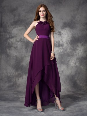 A-line/Princess Ruffles Asymmetrical Halter Sleeveless Chiffon Bridesmaid Dresses