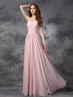 A-line/Princess Ruched Floor-length Sweetheart Sleeveless Chiffon Bridesmaid Dresses