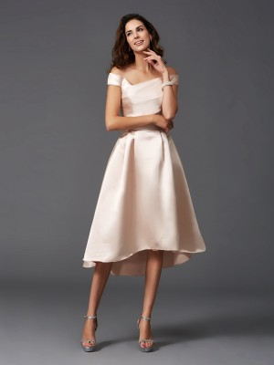 A-Line/Princess Asymmetrical Off-the-Shoulder Sleeveless Satin Bridesmaid Dresses