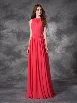 A-line/Princess Ruffles Floor-length Jewel Sleeveless Chiffon Bridesmaid Dresses
