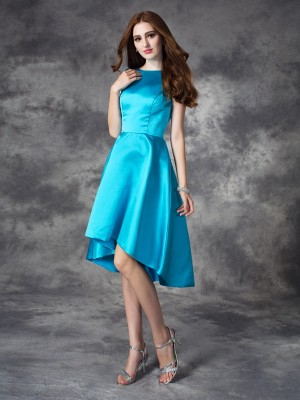 A-line/Princess Ruffles Asymmetrical Bateau Sleeveless Satin Bridesmaid Dresses