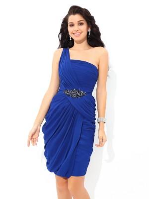 Sheath/Column Pleats Short/Mini One-Shoulder Sleeveless Chiffon Cocktail Dresses