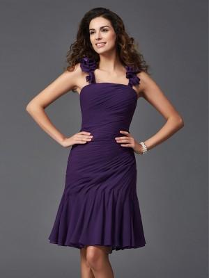 Sheath/Column Ruched Short/Mini Straps Sleeveless Chiffon Cocktail Dresses